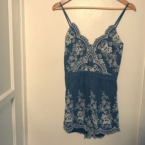 Pants - Delicate Blue with White Lace Romper (S)